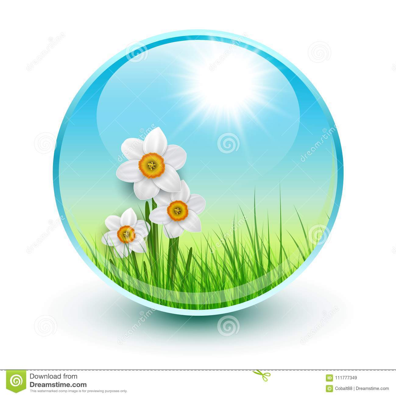 Flowers and grass inside crystal sphere