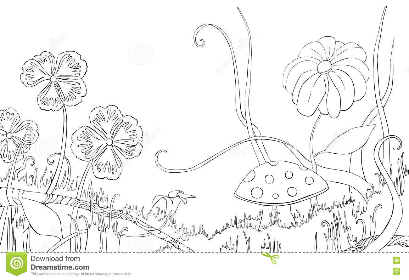Coloring pages grass - Flowers Grass And Mushroom On The Meadow Coloring Book