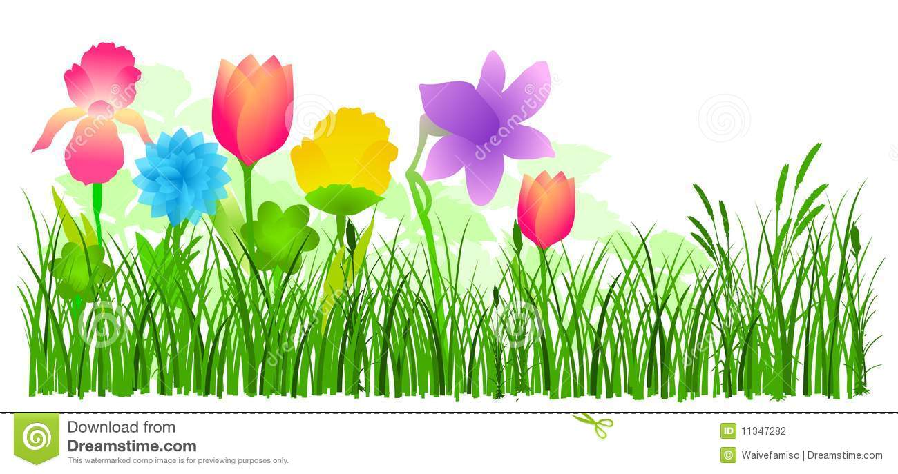 Flowers in grass vector stock vector illustration of for Garden design graphics