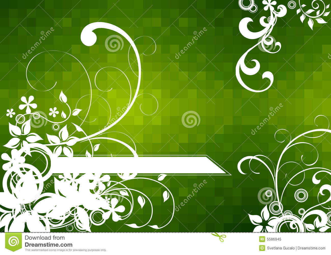 flowers on green checkered backgrounds stock vector