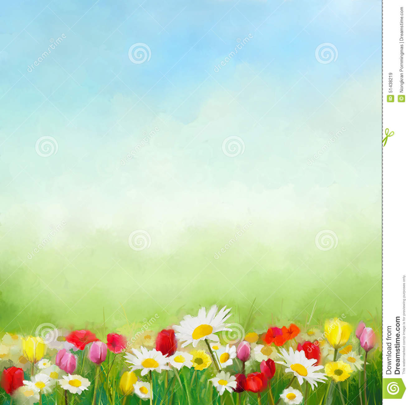 flowers and green nature composition for background with