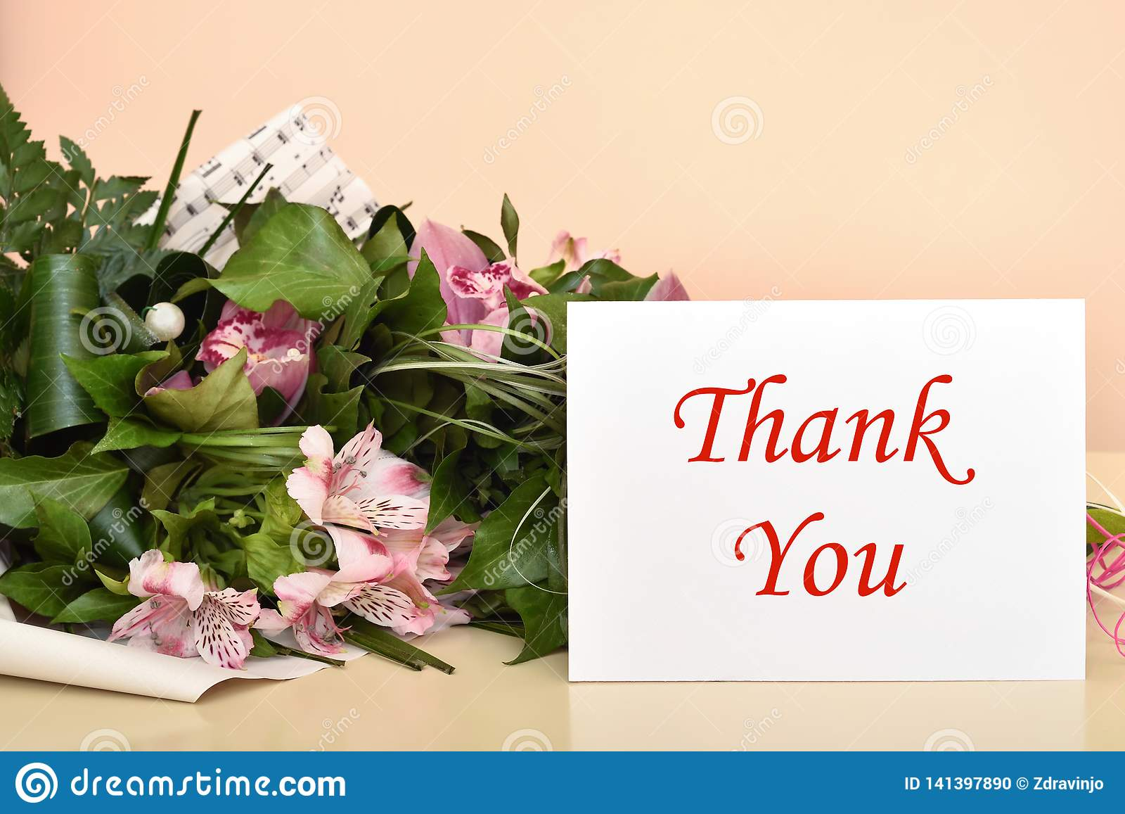 Flowers and greeting card with Thank You message
