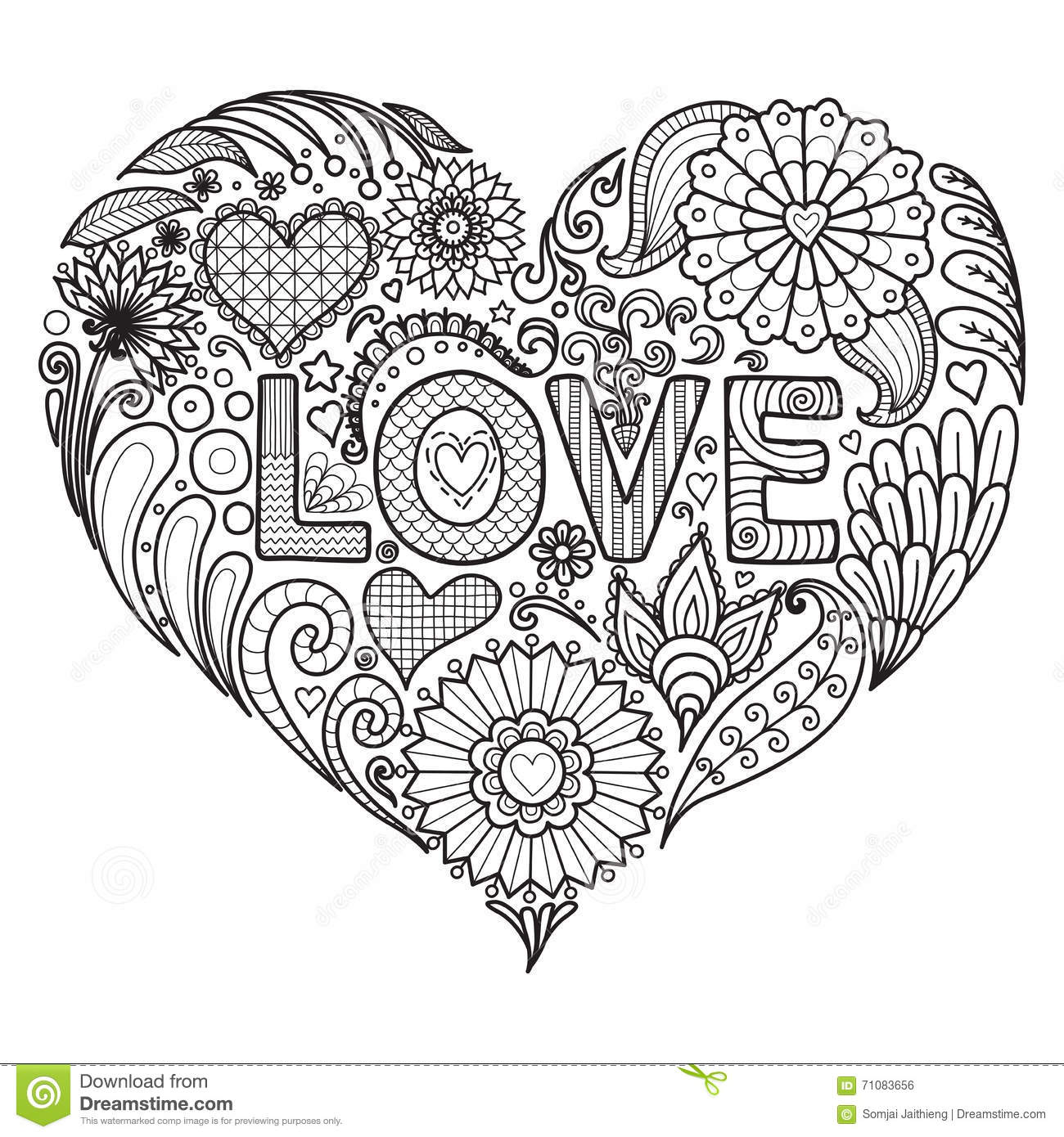 Flowers In Heart Shape For Coloring