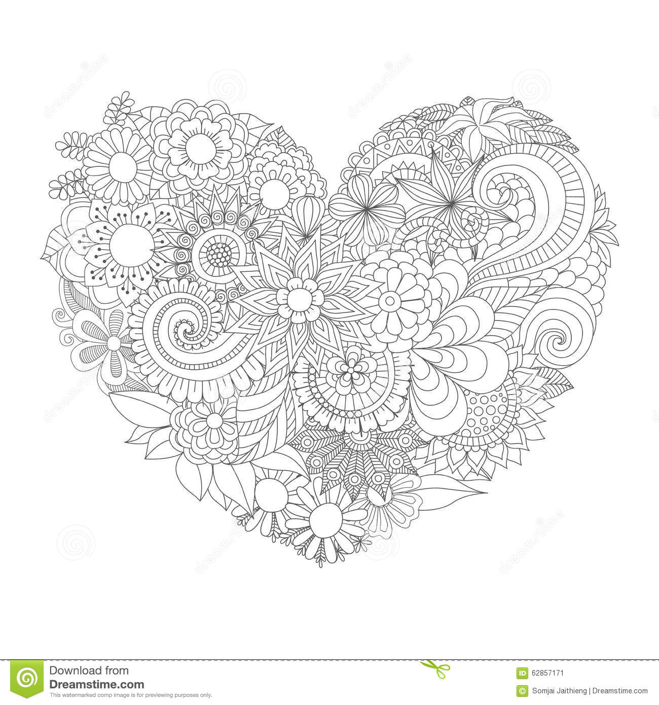Flowers In The Heart Shape Pattern For Coloring Book Stock