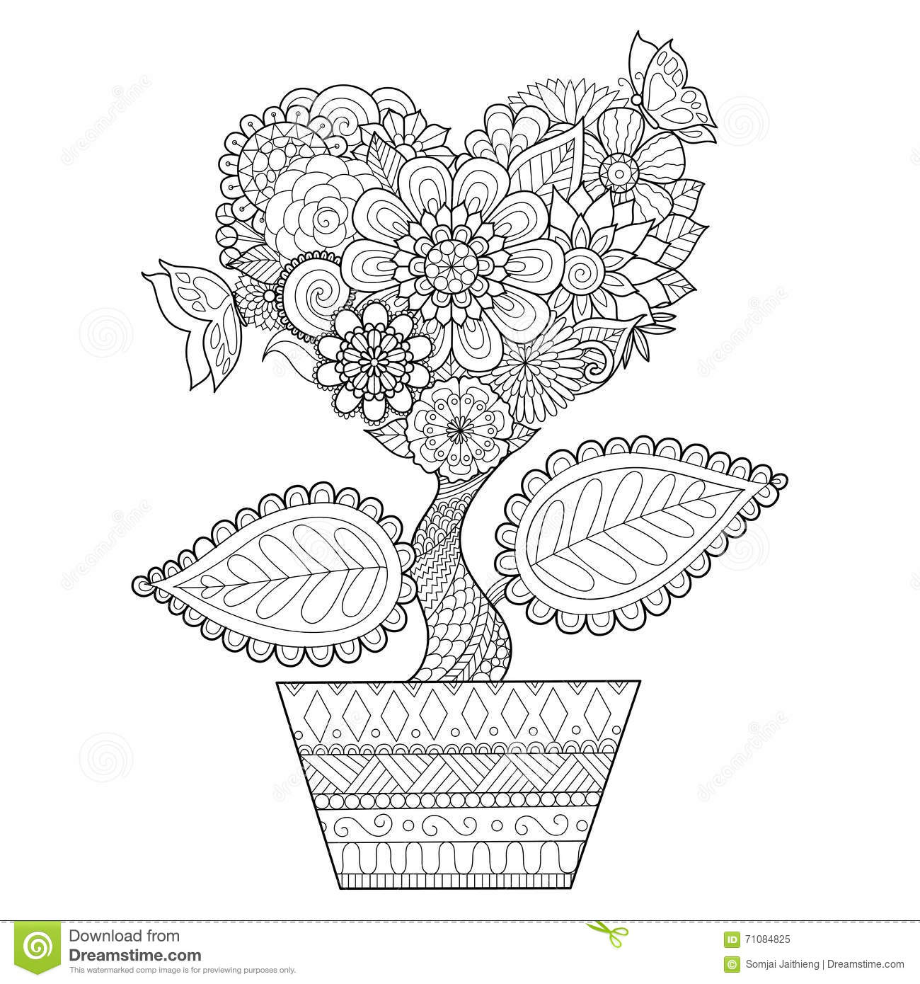 graphic design coloring pages flowers in a pot stock photography