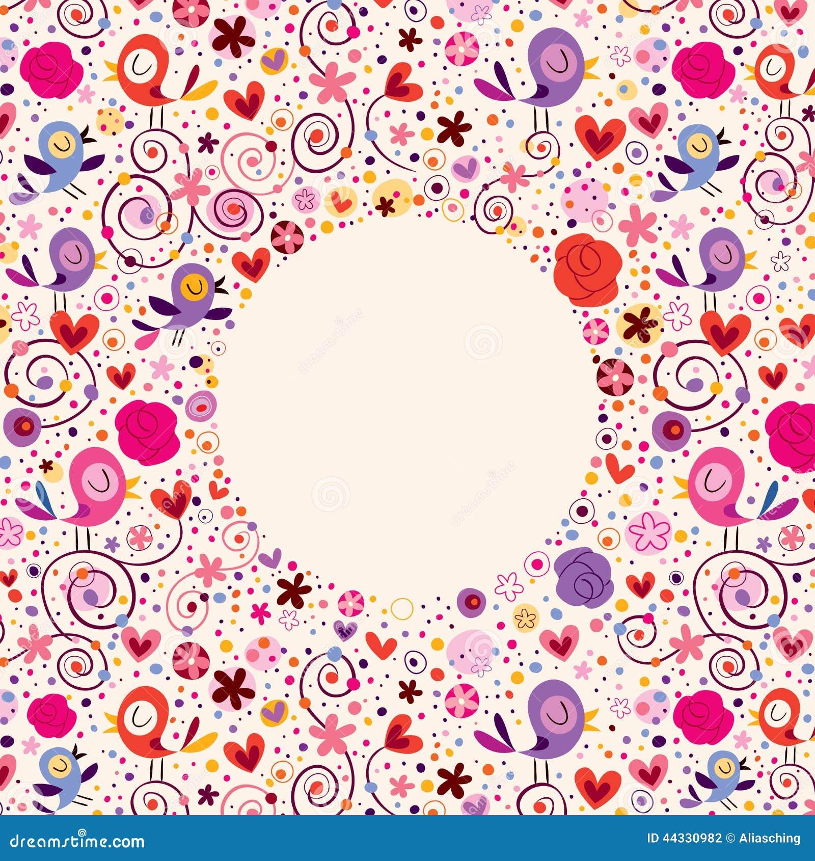 Flowers, hearts, birds love nature circle frame design element.