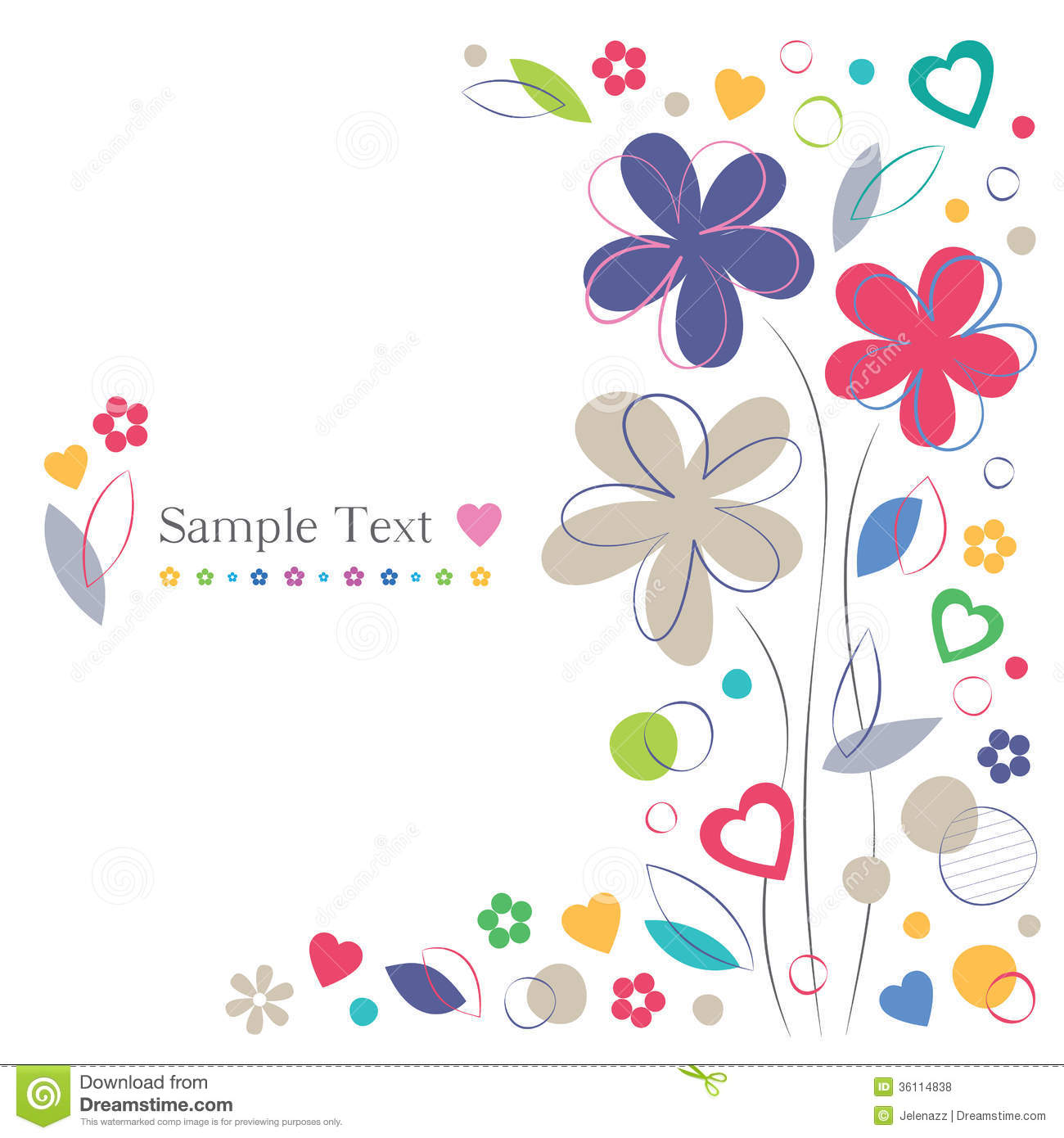 flowers and hearts greeting card border royalty free stock