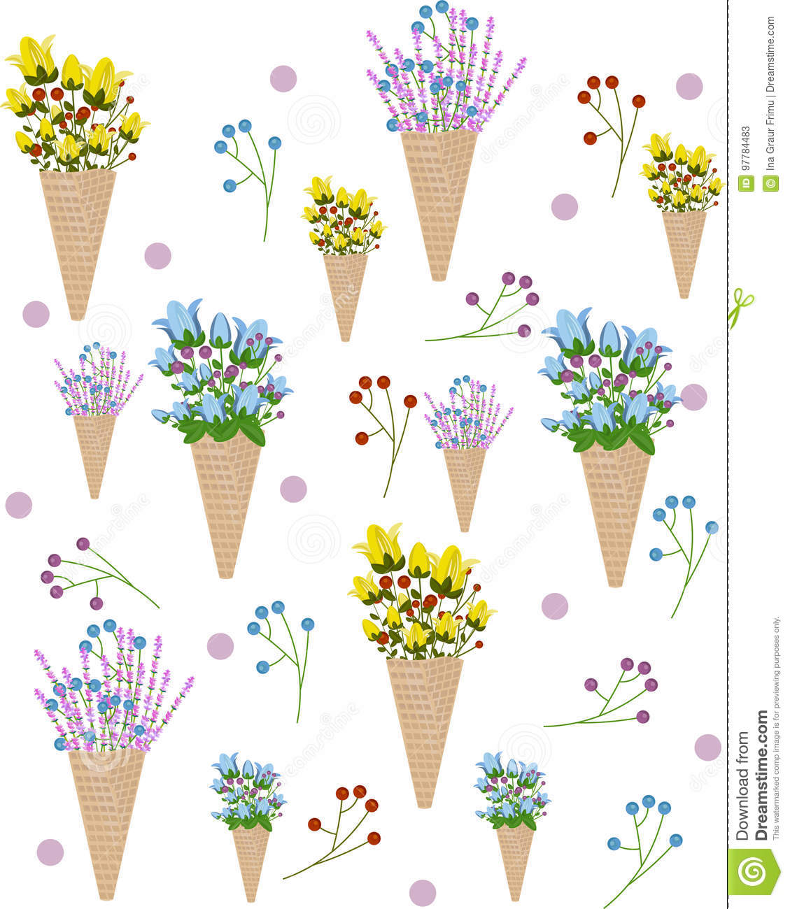 Flowers In An Ice Cream Cone Pattern Vector Summer Illustration