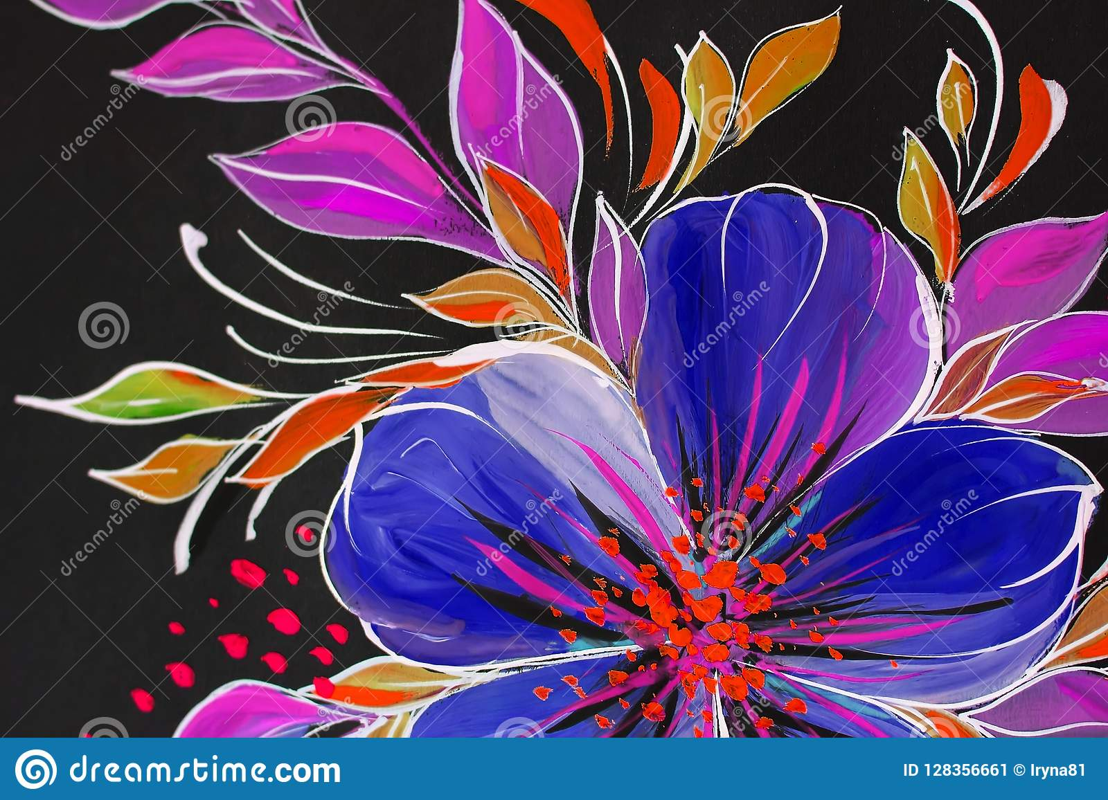 Flowers Illustration On A Black Background Oil Painting Impressionism Style Flower Painting Canvas Stock Illustration Illustration Of Floral Banner 128356661