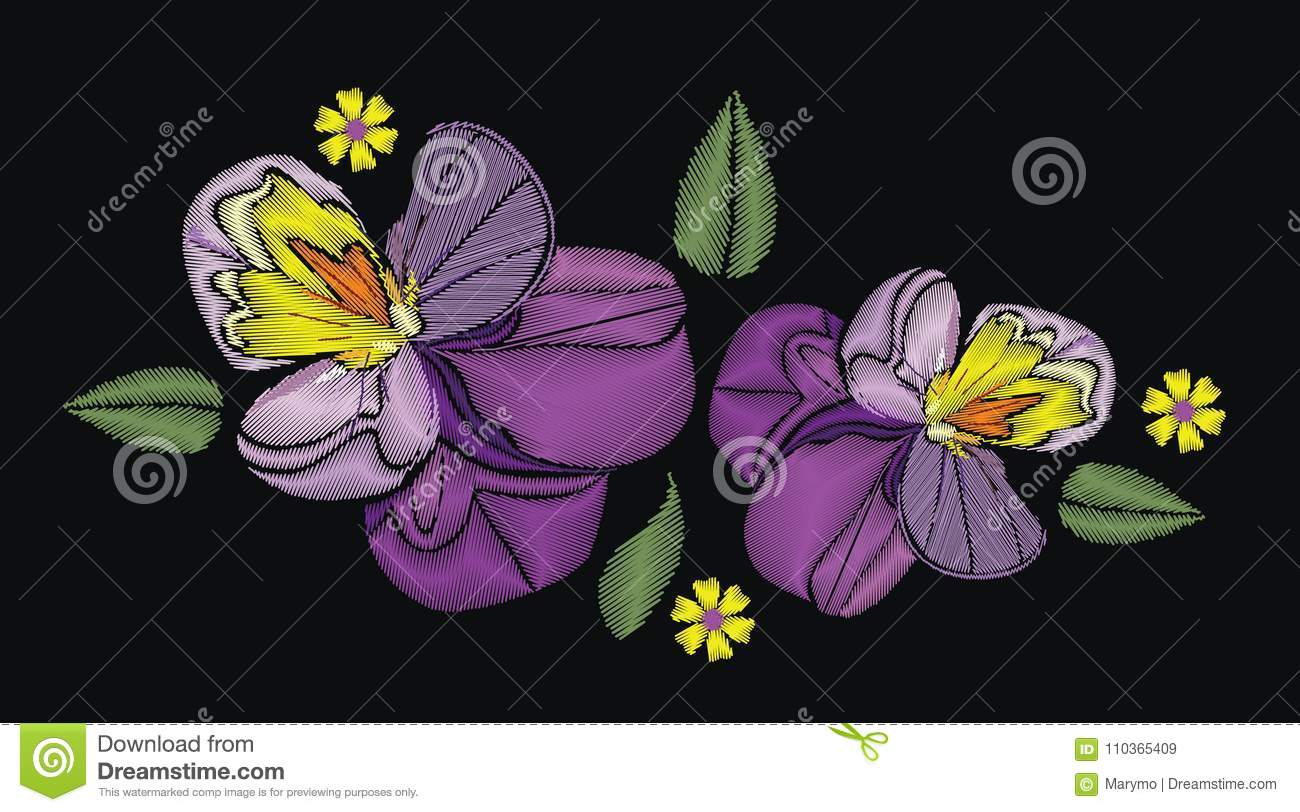 Flowers Isolated On Black Background Vector Illustration