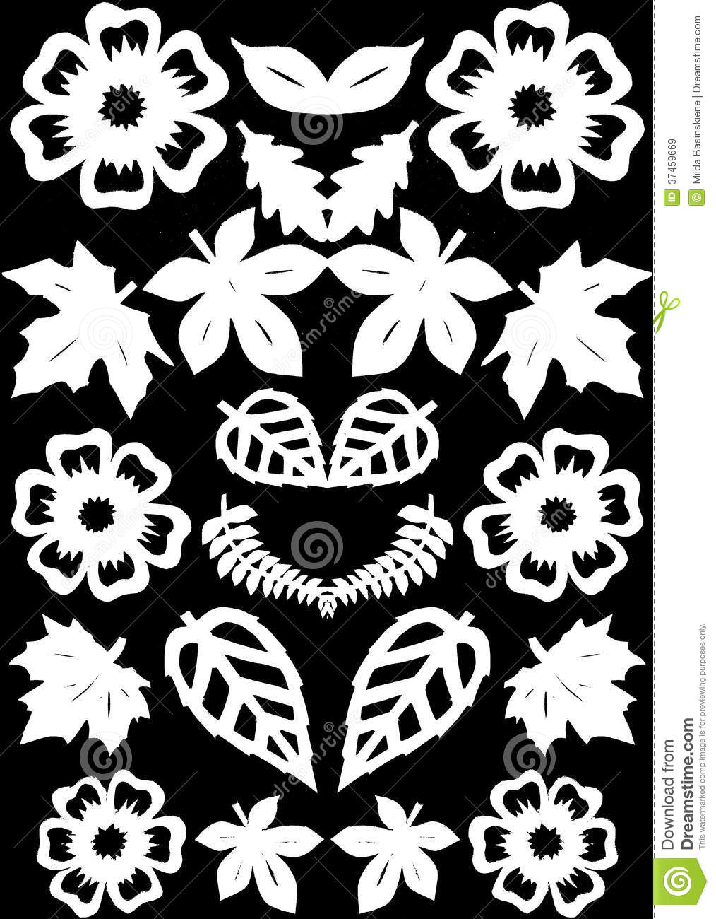 Flowers And Leafs Pattern Paper Cutting Stock Illustration