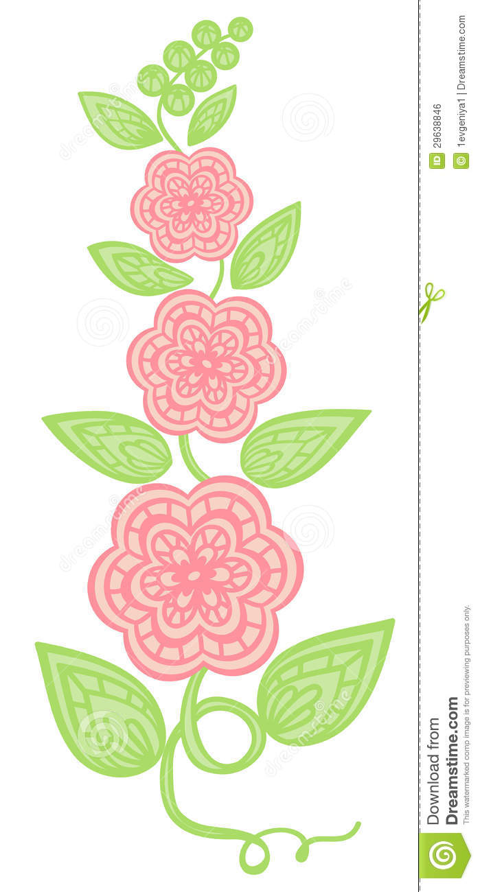 Flowers and leaves element imitation guipure embroidery