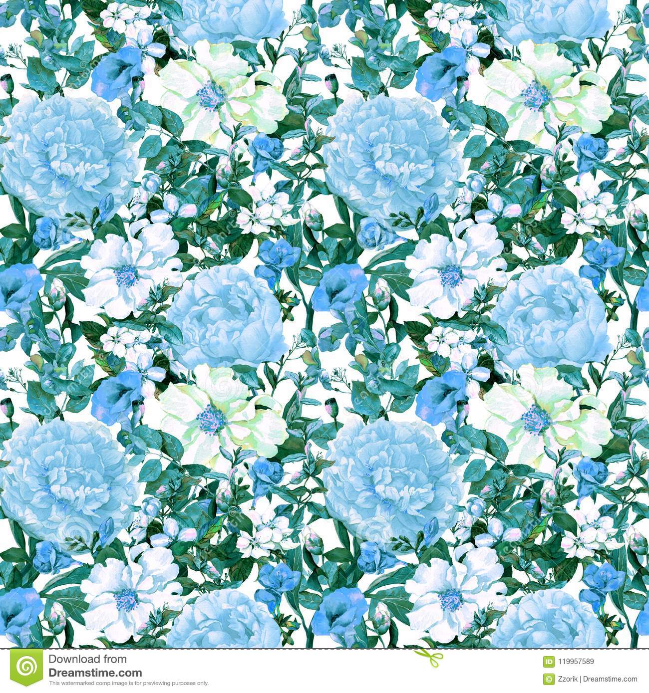 Flowers, leaves, wild grass. Repeating floral pattern in blue color. Watercolor