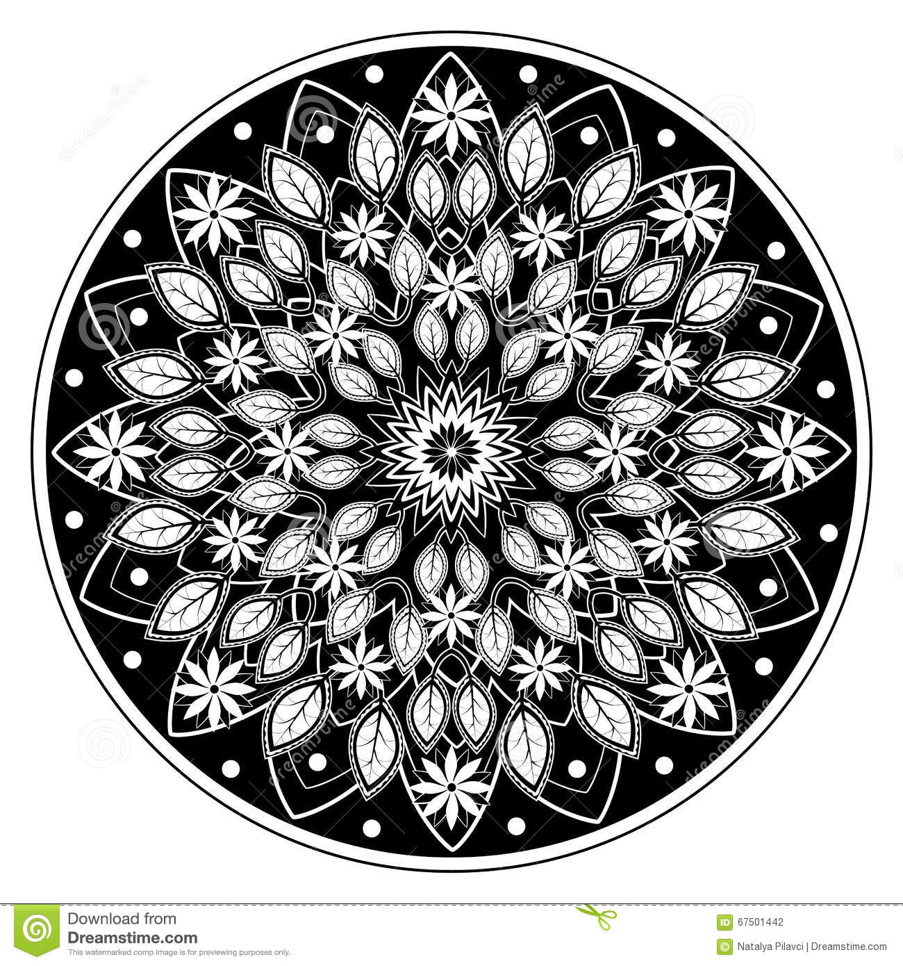 Flowers And Leaves Mandala Ornament Stock Vector