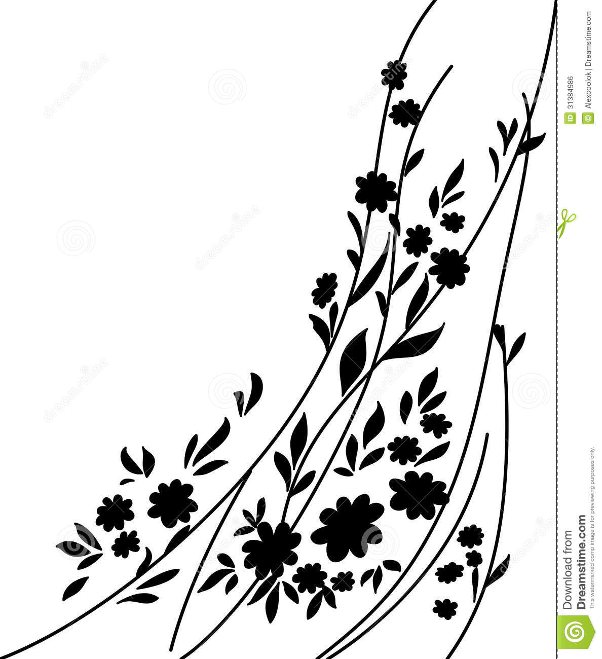 Flowers And Leaves Silhouette Stock Vector Illustration Of Form