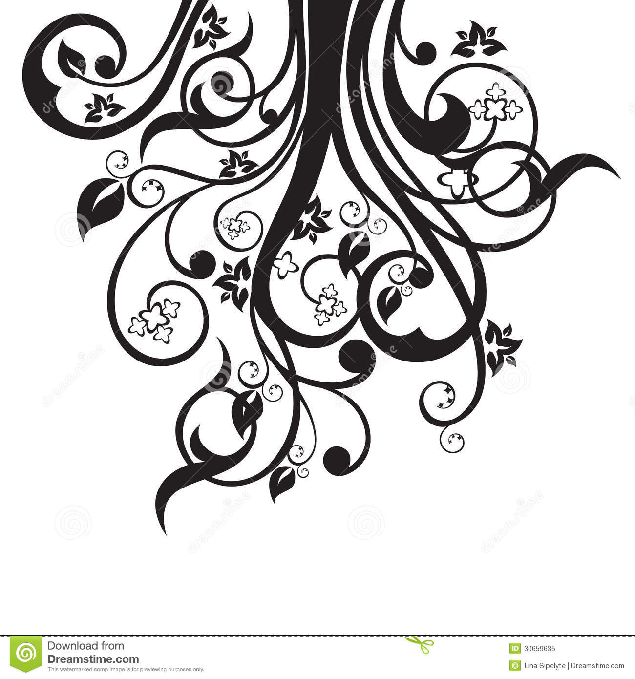 Flowers, Leaves And Swirls Silhouette In Black Royalty Free Stock ...