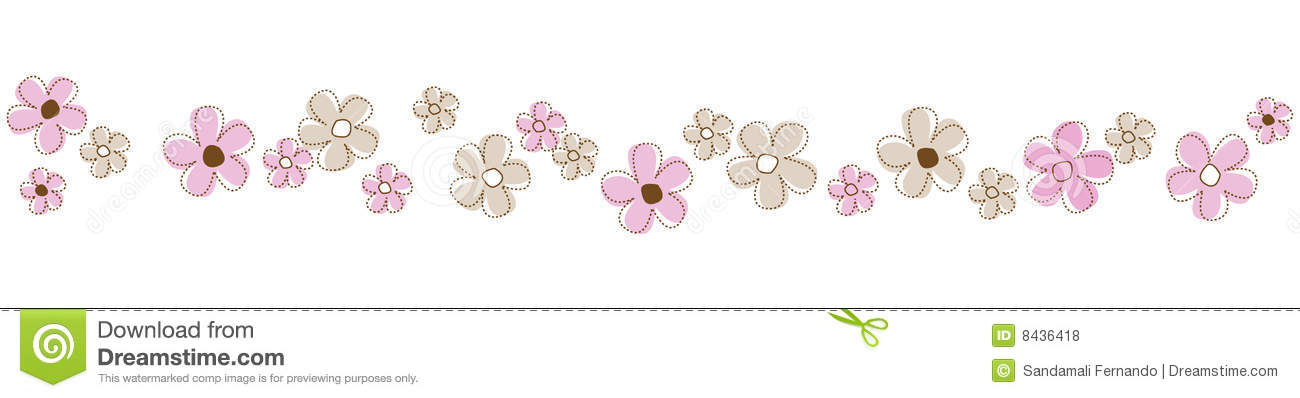 Cute and colorful flowers line isolated on white background divider.