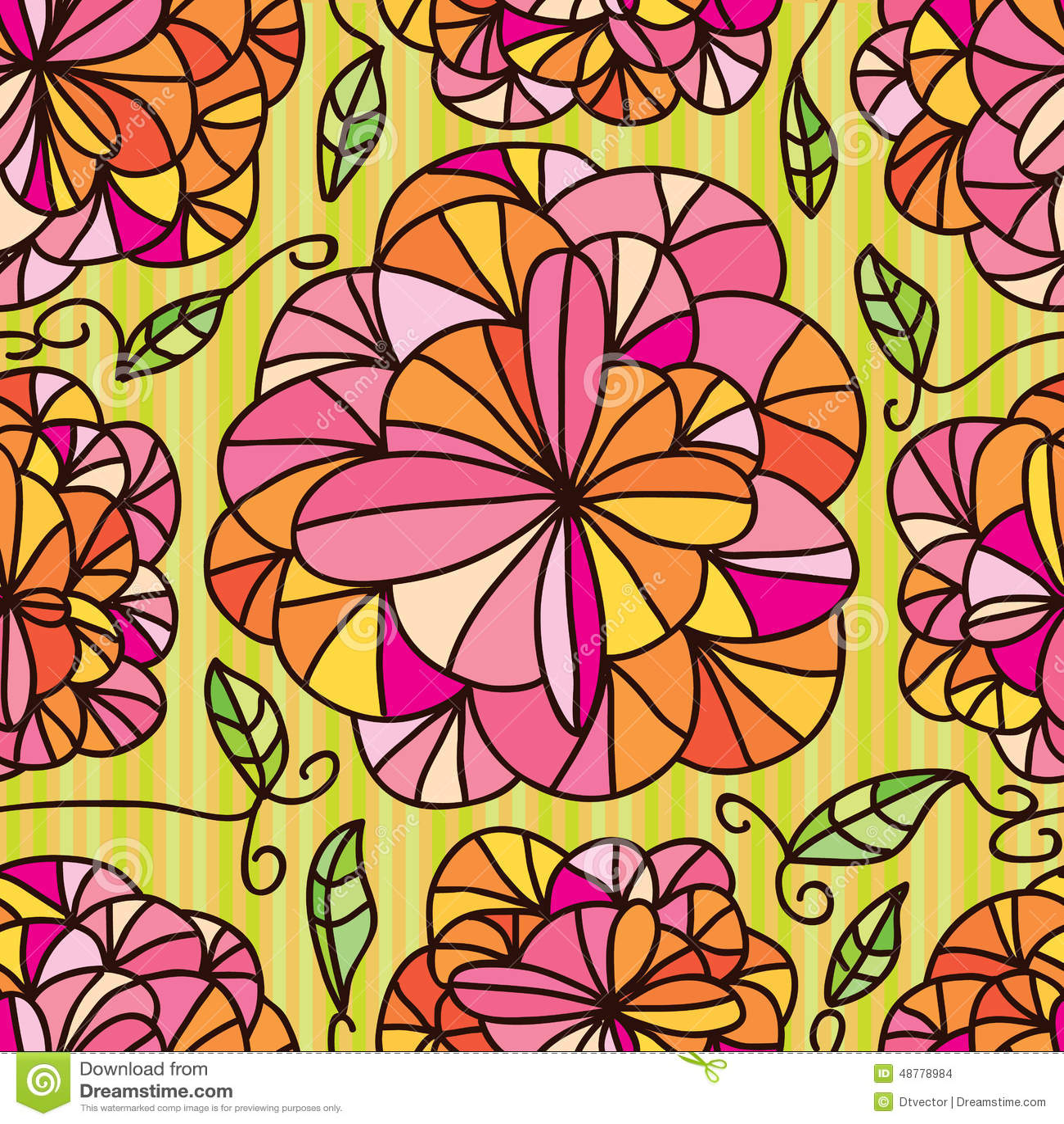 Colour Line Art Design : Flowers line draw seamless pattern stock vector