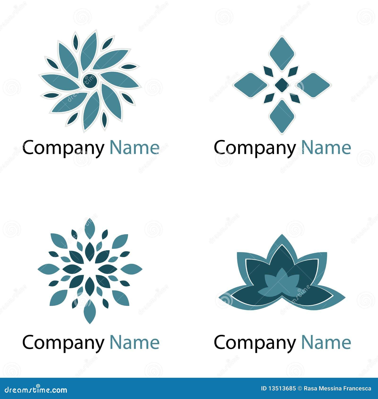 Flowers logos - blue