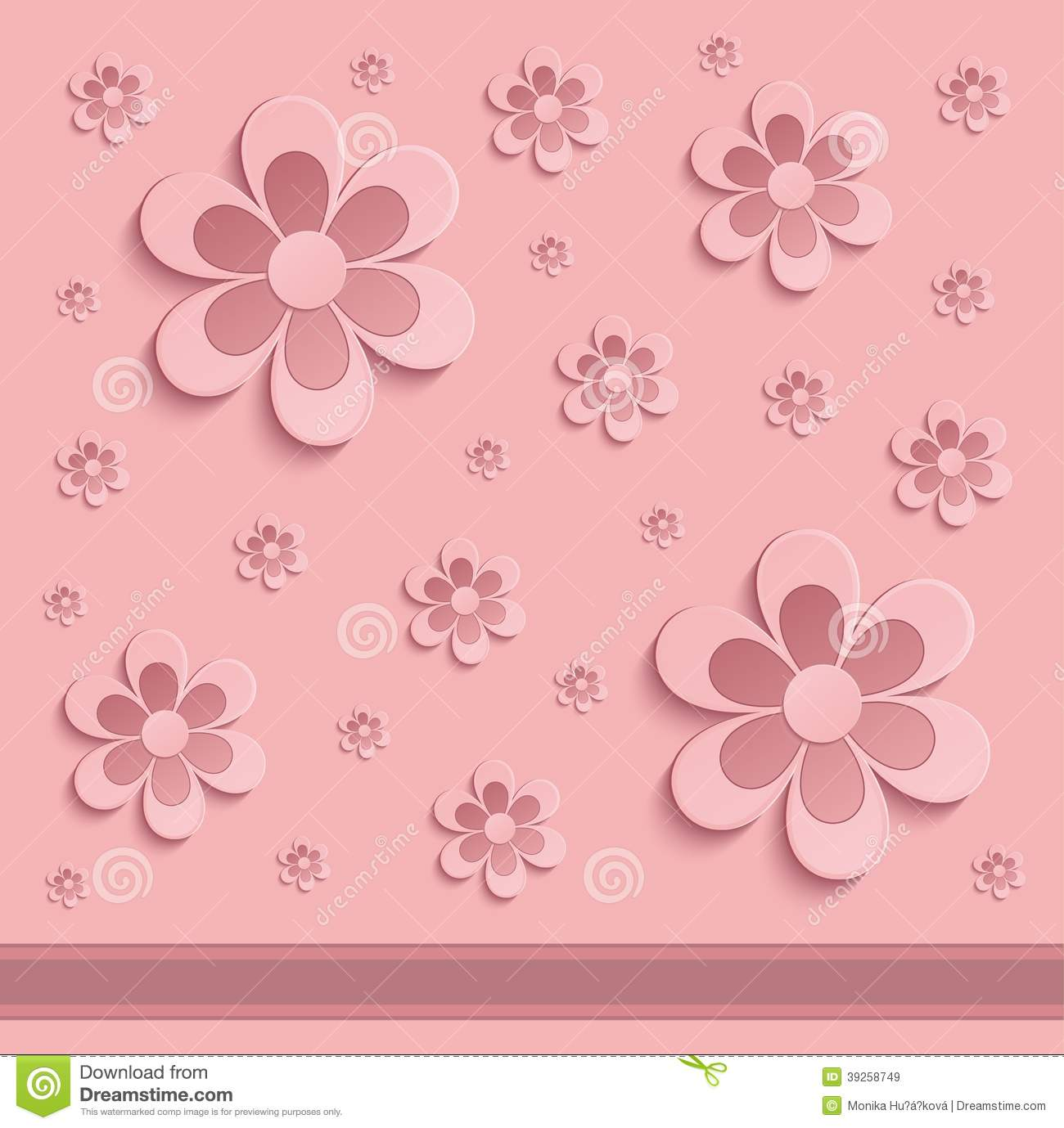 Flowers Spring Paper 3d Pink Stock Image Image 39258749