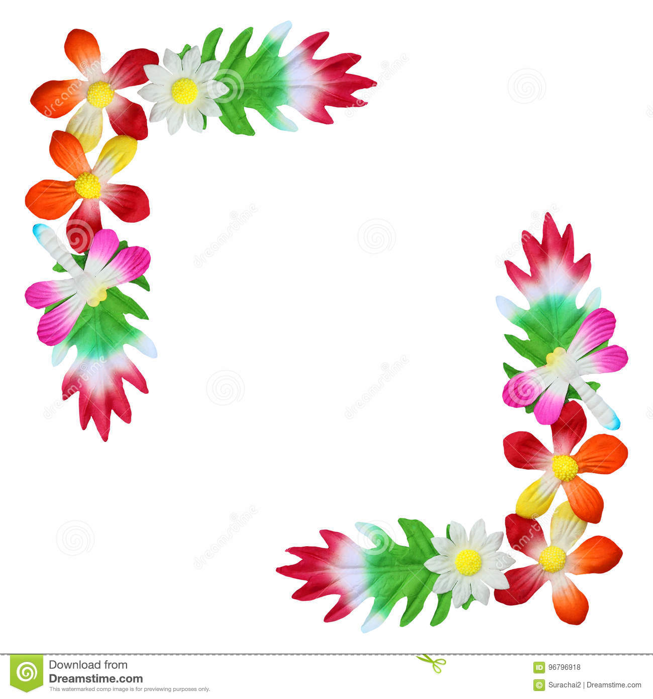 Flowers made of colorful paper used for decoration