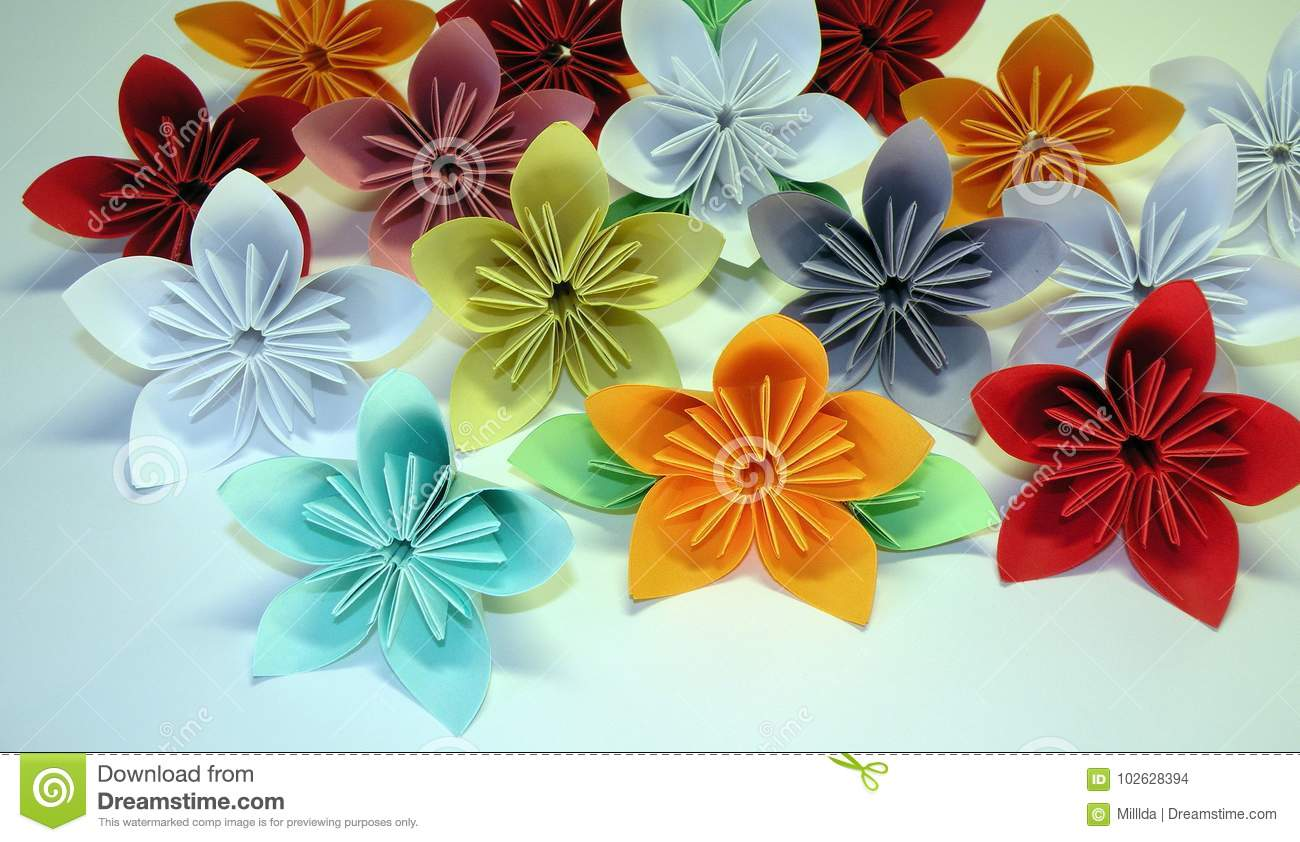 Colorful Origami Flowers Stock Photo Image Of Made 102628394