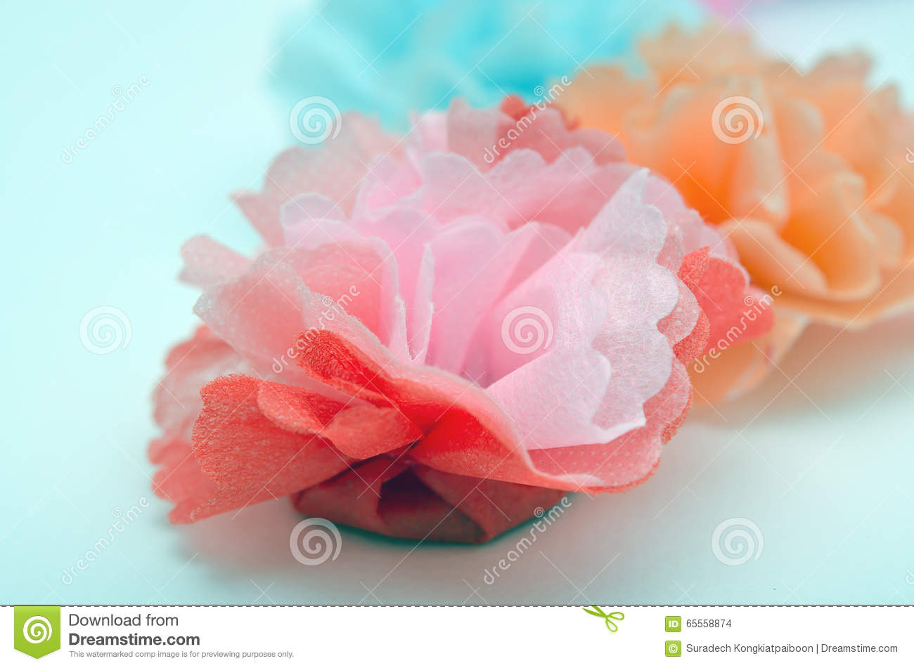 Flowers Made From Paper Craftwork Stock Photo Image Of Gifts