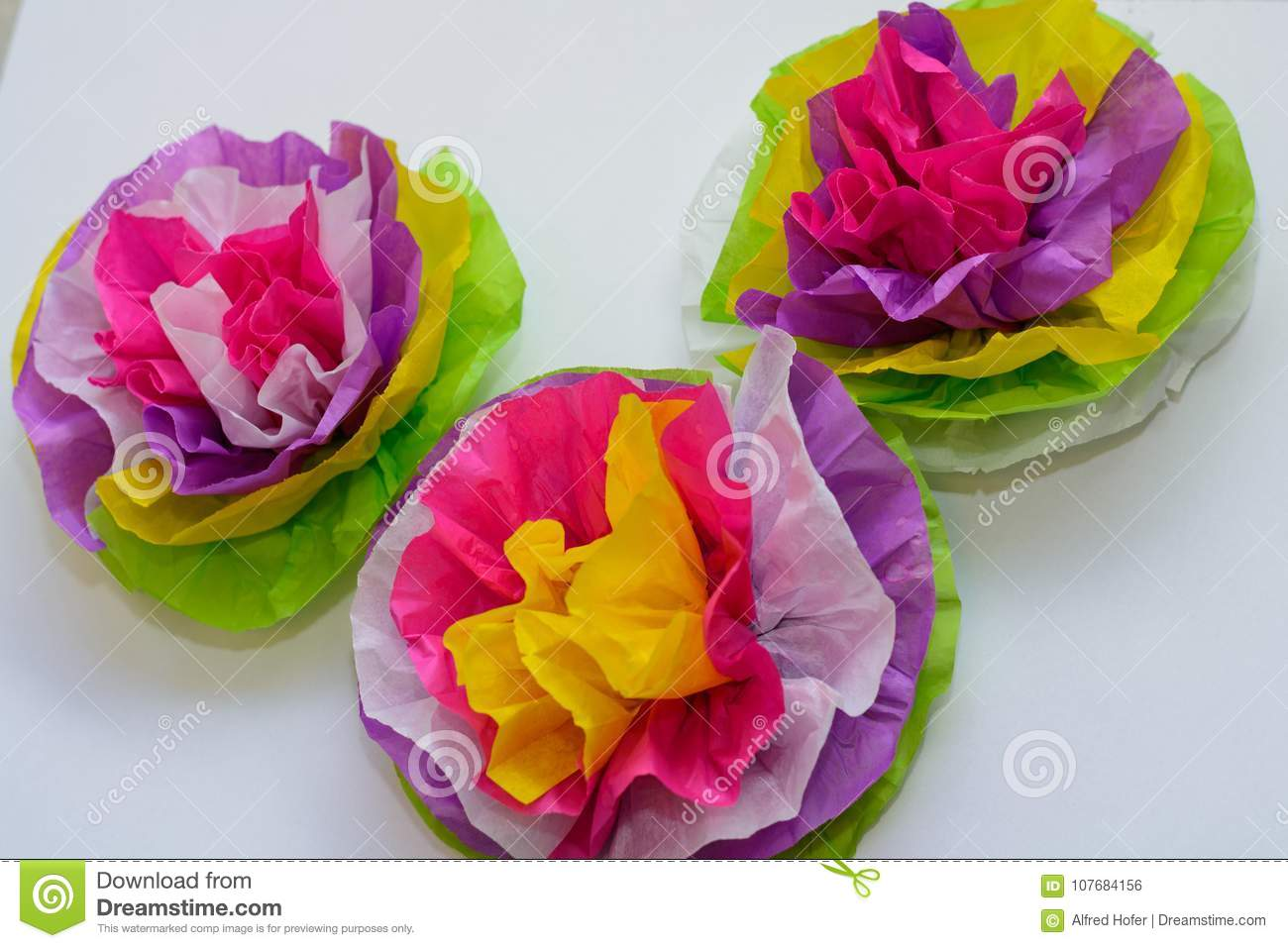 Three Colorful Tissue Paper Flowers Stock Photo Image Of Flowers