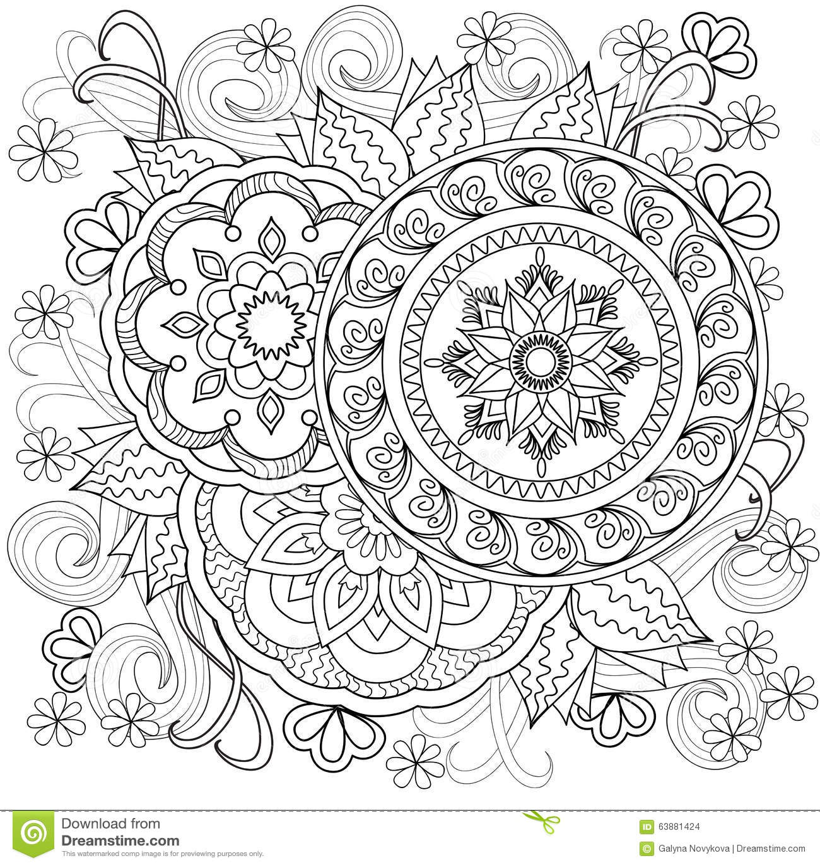 Flowers Mandalas B10 Stock Vector Image Of Ethnic Drawn