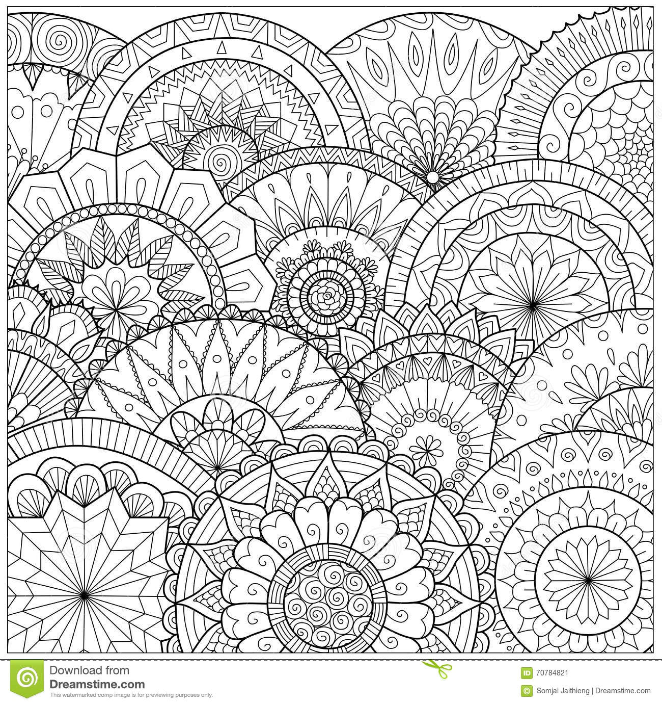 Flowers and mandalas line art for coloring book for adult for Art et decoration pdf