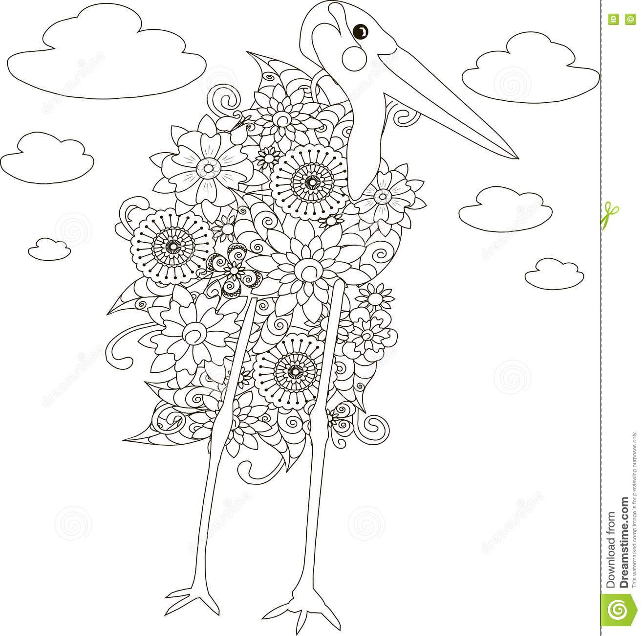 flowers marabou stork coloring page anti stress stock vector