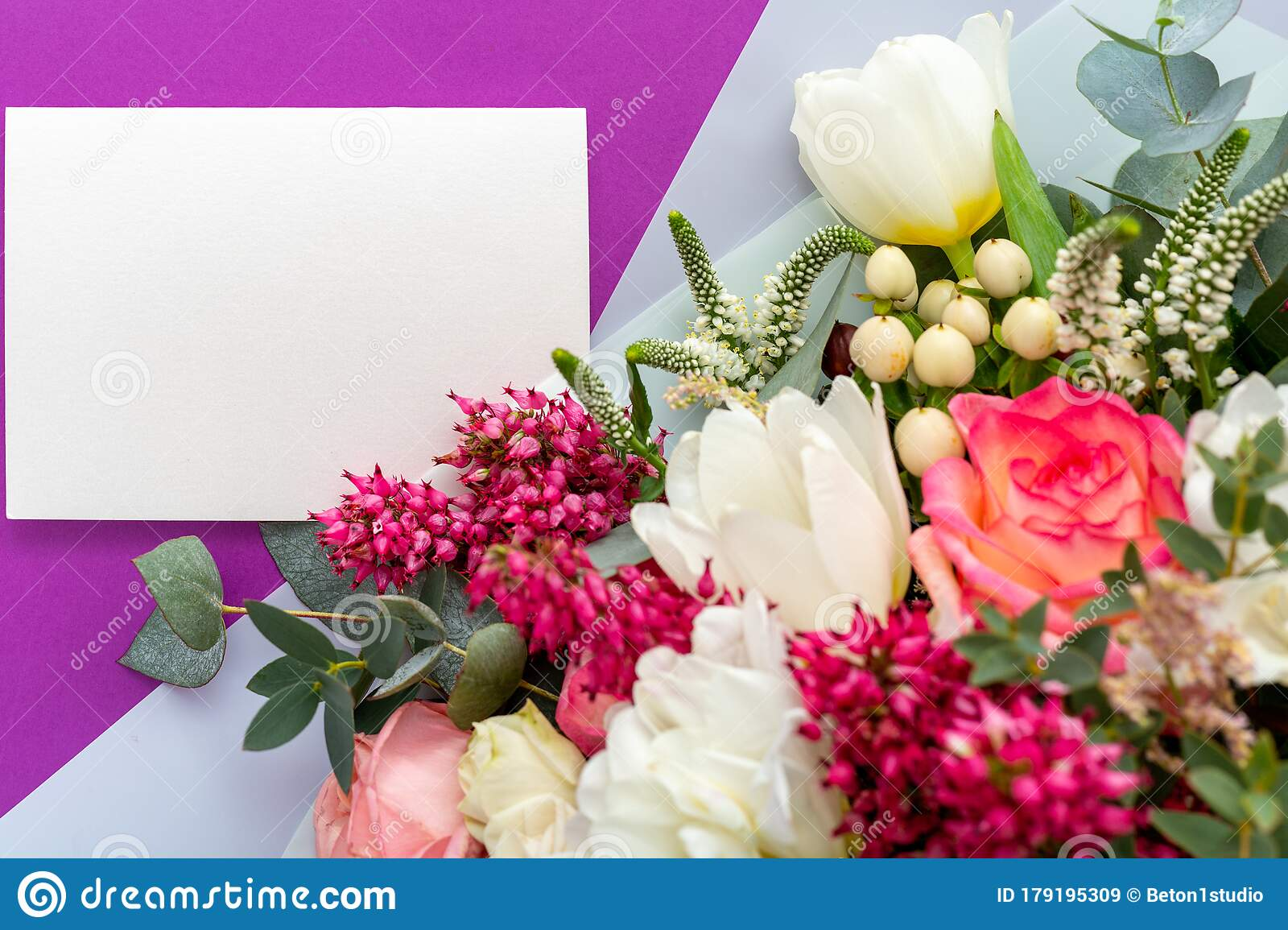 Flowers Mock Up Gift Card Congratulations Card In Bouquet Of Roses Tulips Eucalyptus On Purple Background White Blank Card Stock Image Image Of Design Empty 179195309