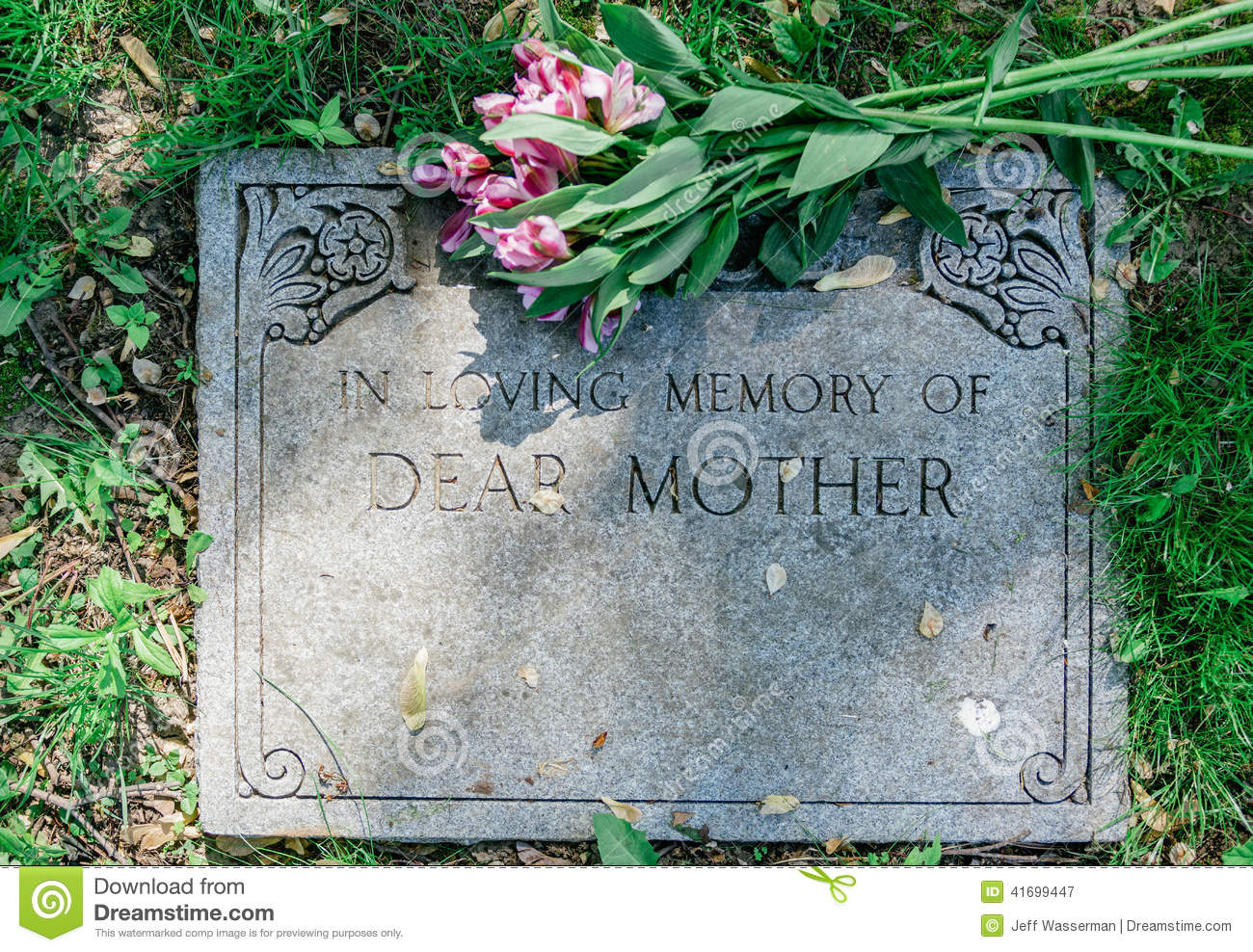 Flowers on mothers grave marker stock image image of funeral flowers on mothers grave marker izmirmasajfo