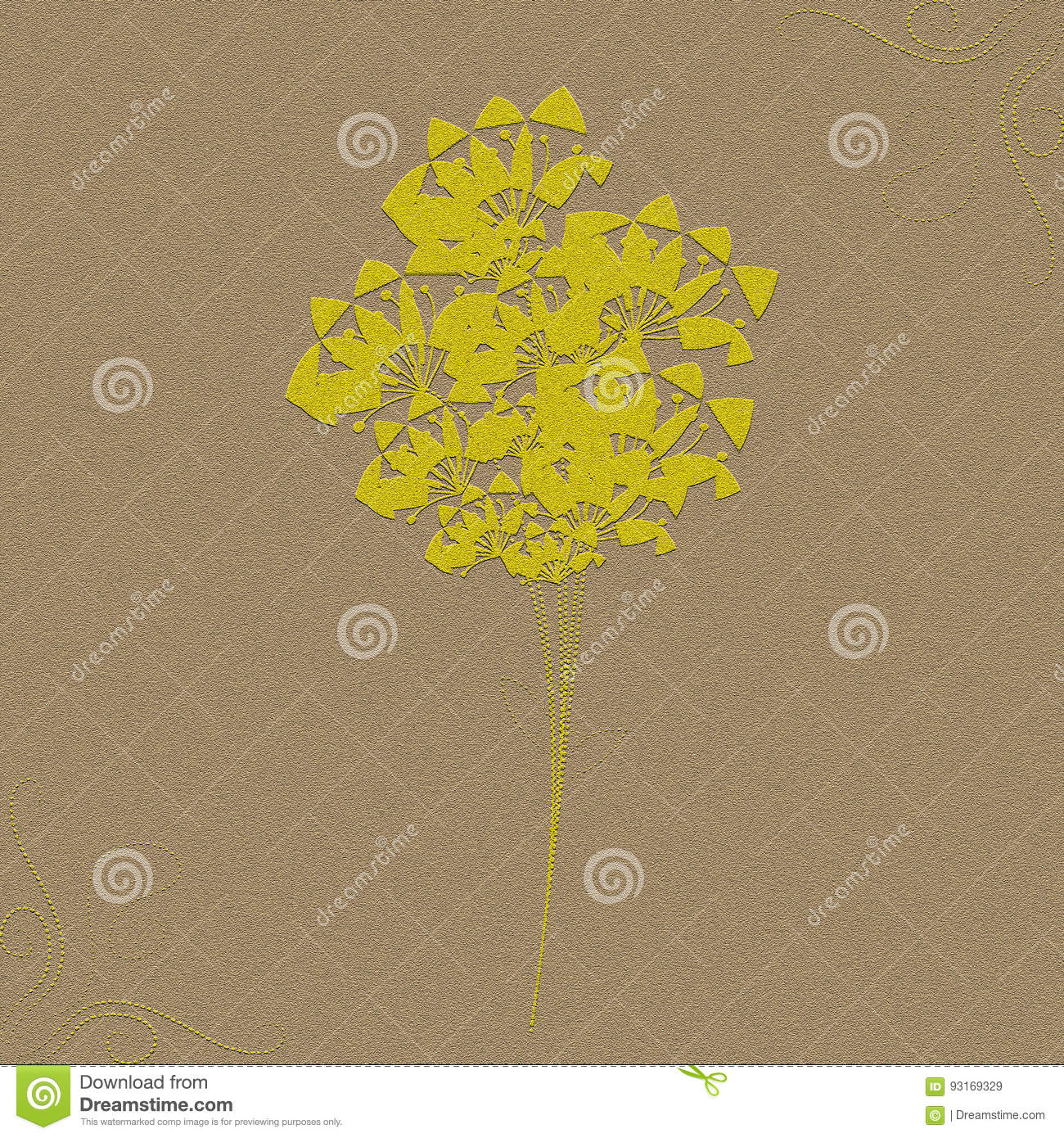Flowers Notepaper Texture Effect Yellow Brown Illustration