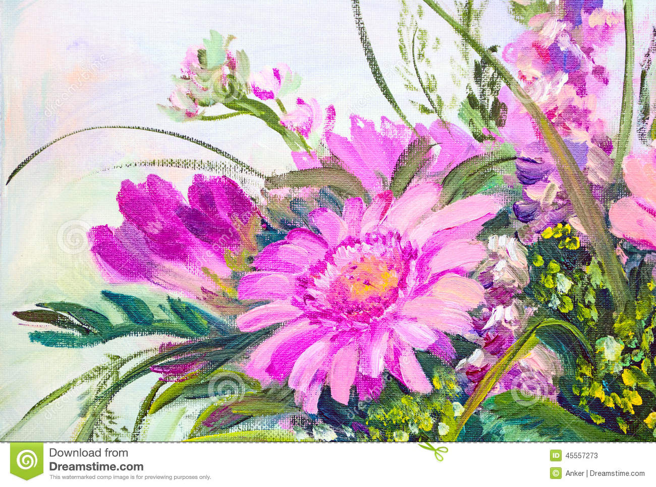 Flowers Oil Painting Stock Illustration Image 45557273