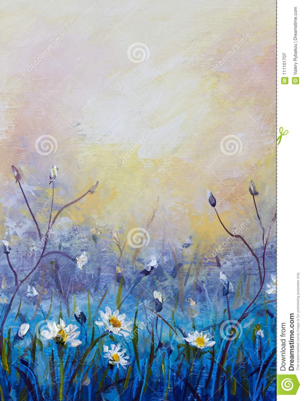 Oil Painting Of Flowers Beautiful Field Flowers On Canvas Modern