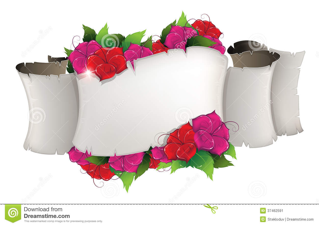 Flowers Old Paper Scroll Stock Illustrations 738 Flowers Old Paper