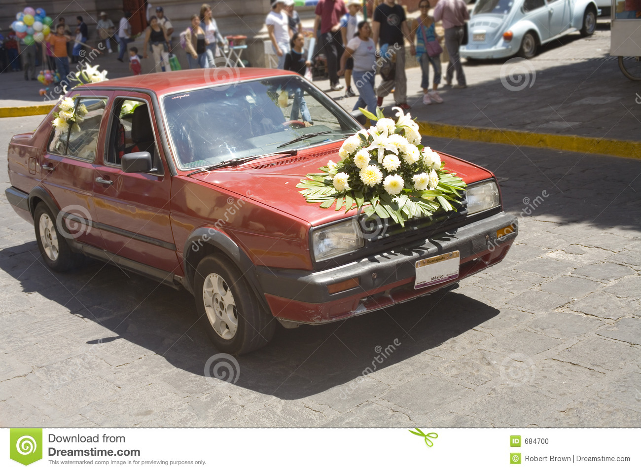 Flowers on old wedding car stock photo. Image of hood, street - 684700