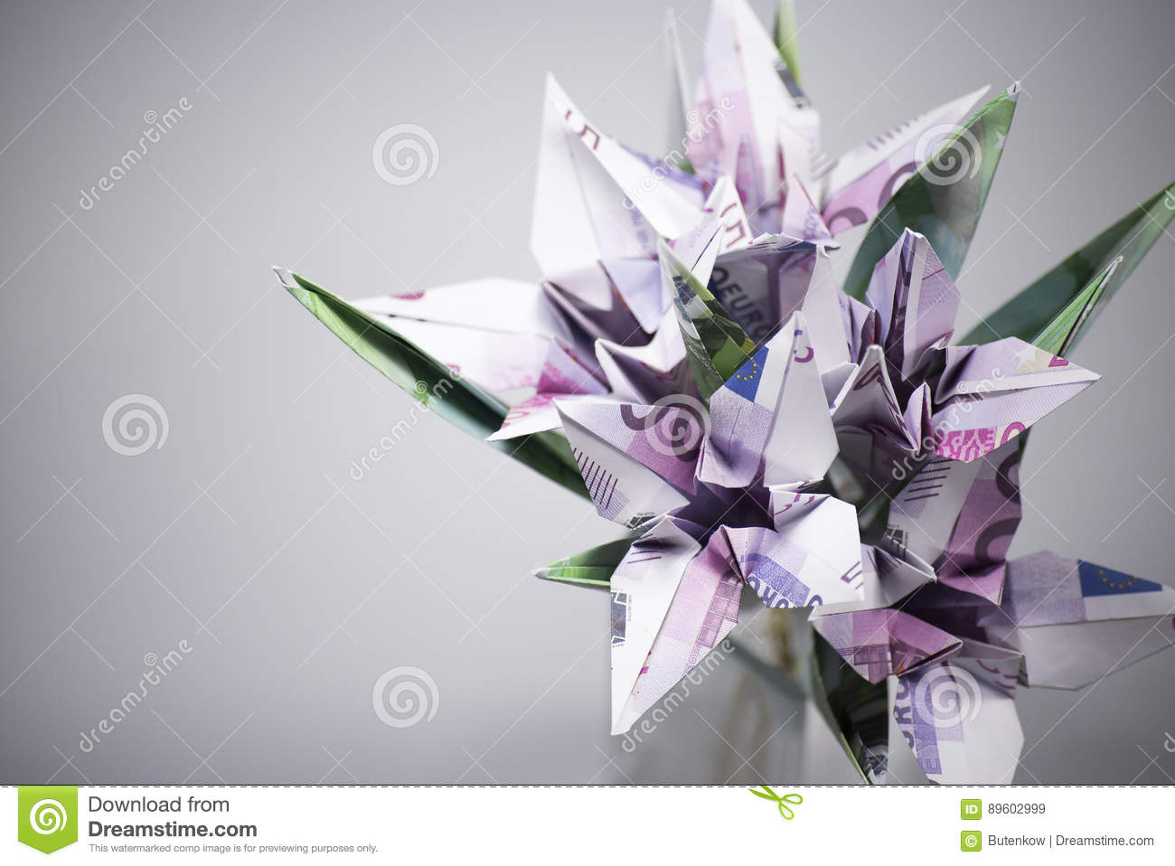 Flowers Origami Banknotes Stock Image Image Of Background 89602999