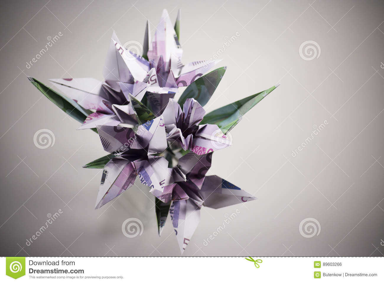 Flowers Origami Banknotes Stock Photo Image Of Income 89603266