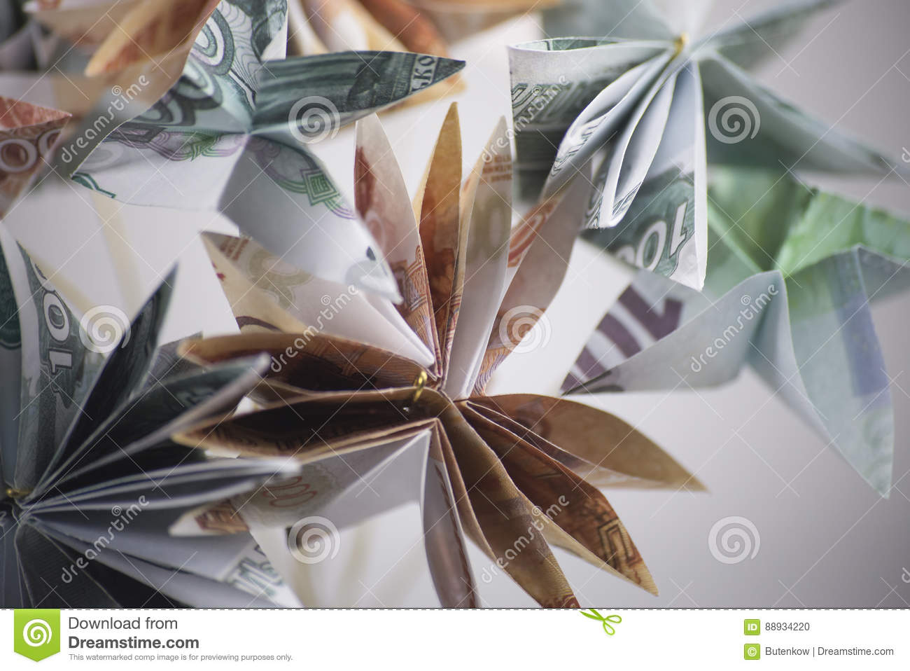 Flowers Origami Banknotes Stock Photo Image Of Income 88934220