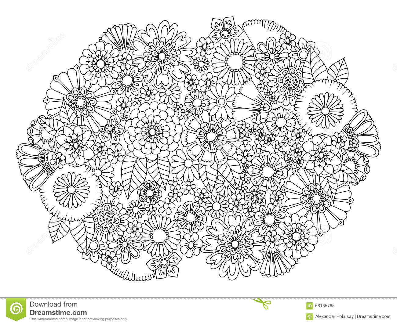 Flowers Ornament Coloring Book For Adults Vector Royalty Free Stock Photo