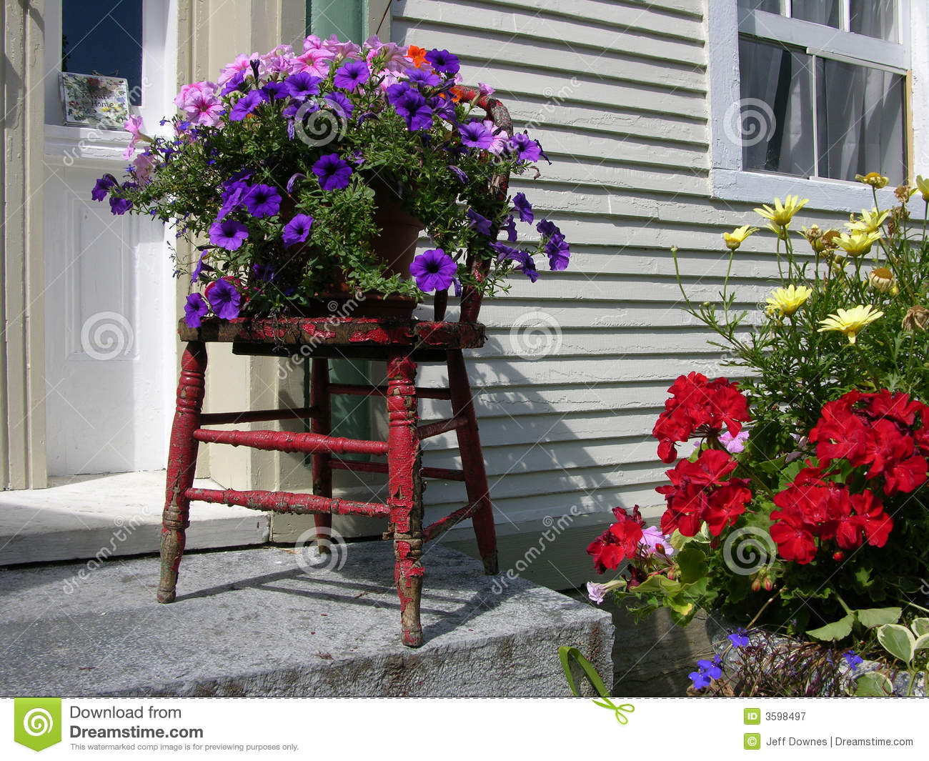 Flowers Outside House stock image. Image of chair, doorstep