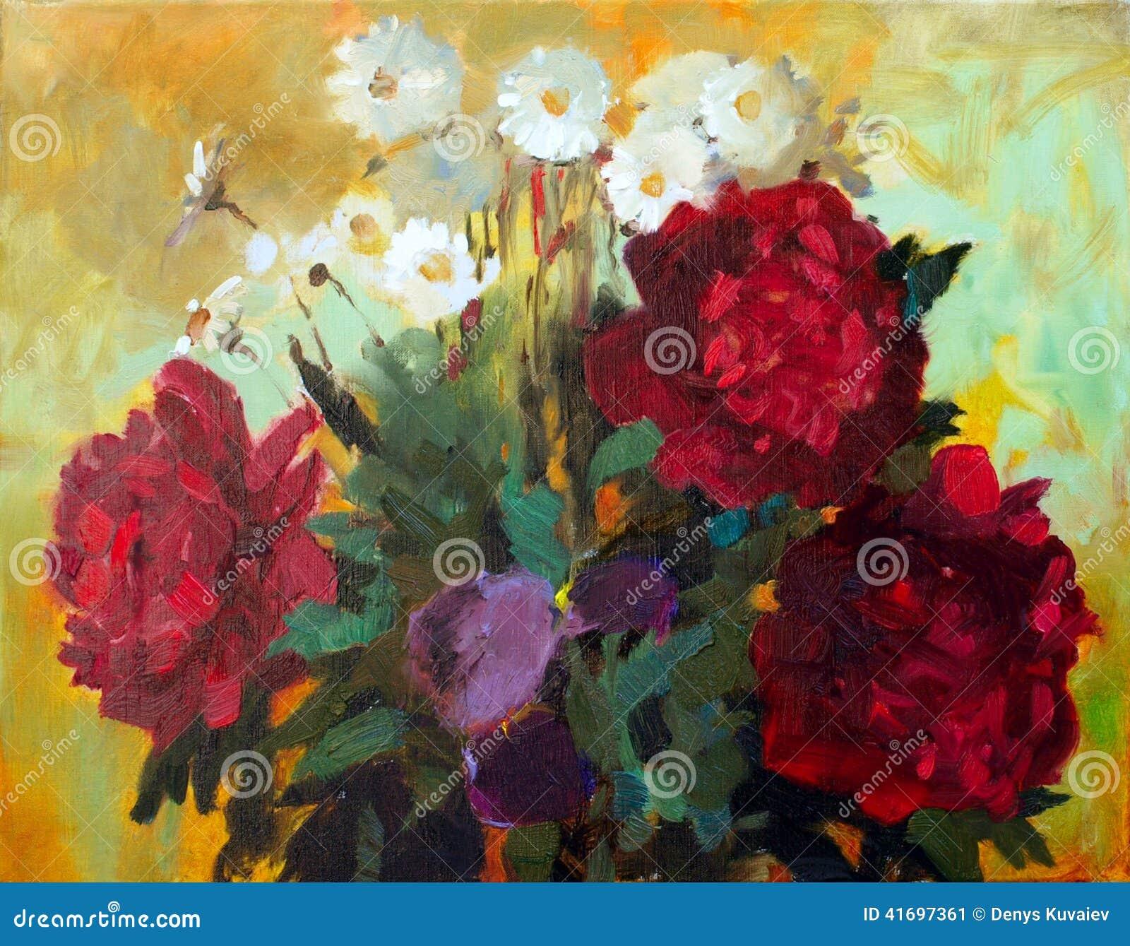 Flowers painting stock illustration illustration of flora 41697361 oil painting of the beautiful flowers izmirmasajfo