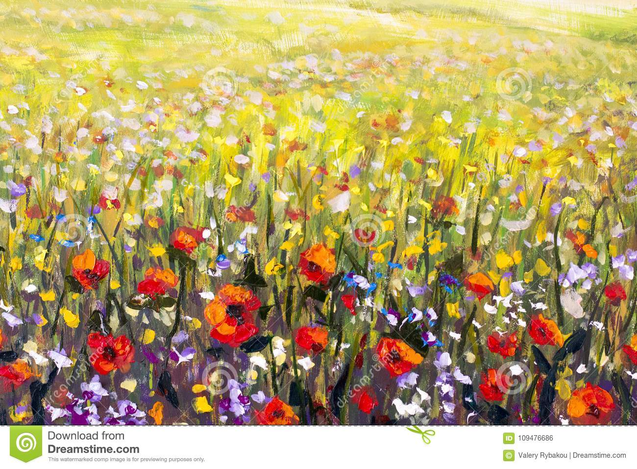 Red Poppies Flower Field Oil Painting Yellow Purple And White