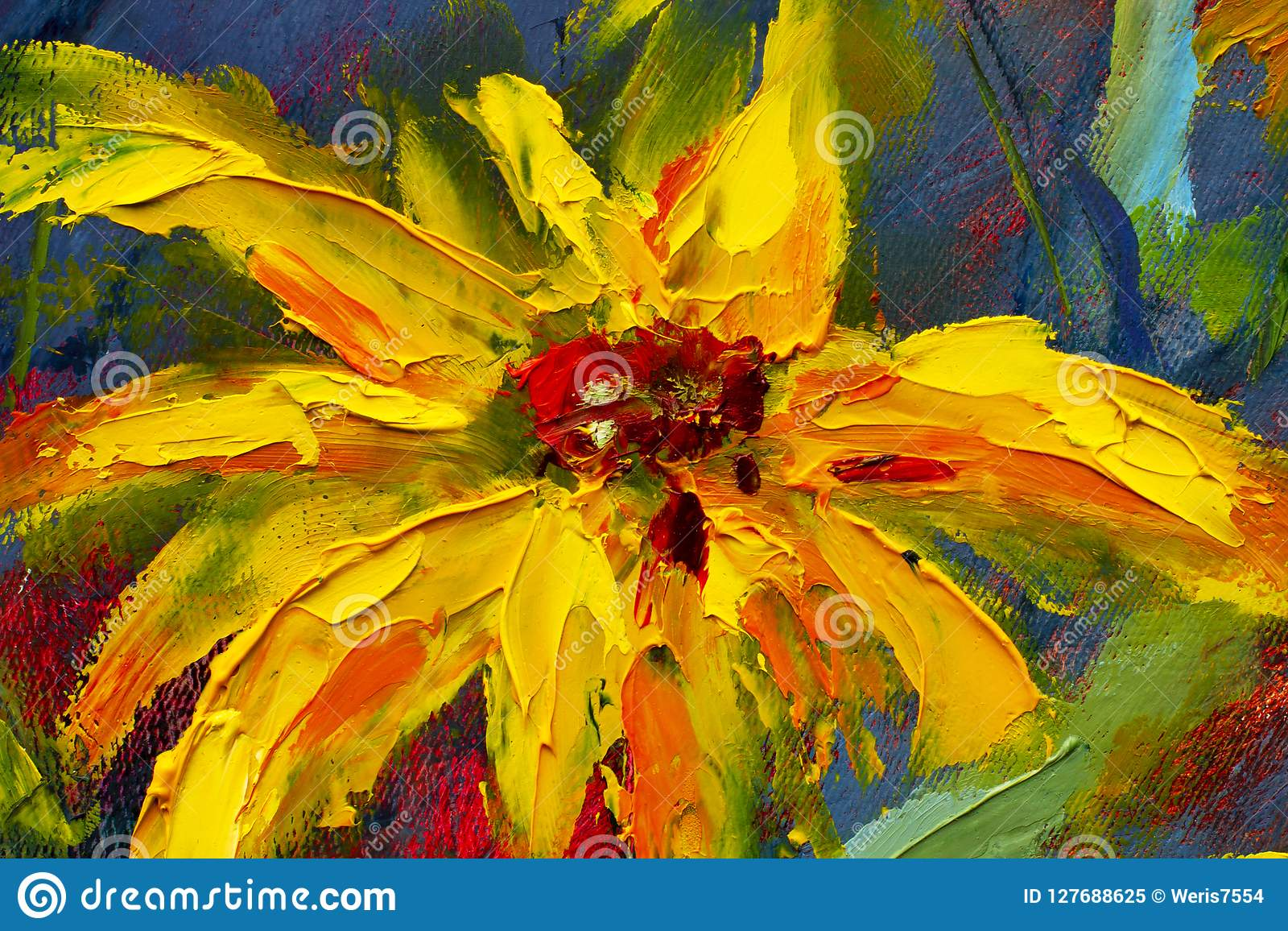 Flowers painting, yellow wild flowers daisies, orange sunflowers on a blue background, oil paintings landscape impressionism artwo