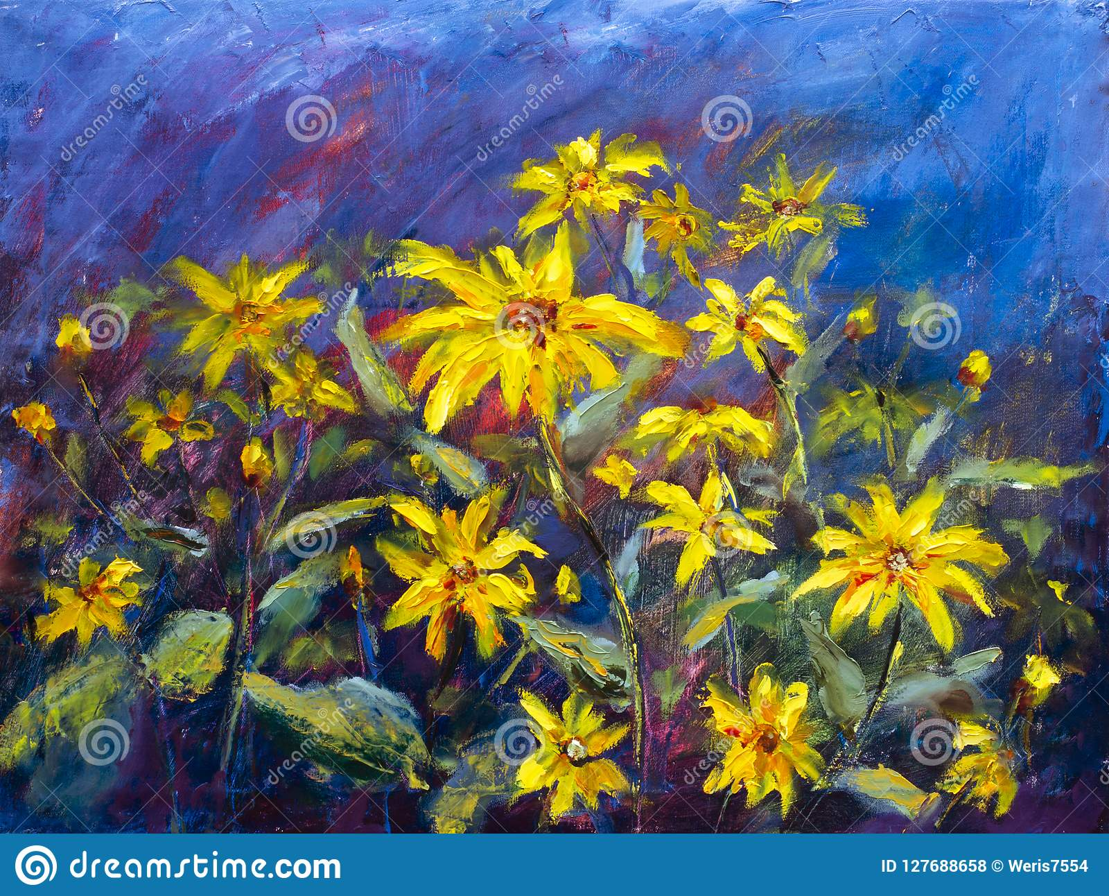 Flowers Painting Yellow Wild Flowers Daisies Orange Sunflowers On A Blue Background Oil Paintings Landscape Impressionism Artwo Stock Illustration Illustration Of Modern Canvas 127688658
