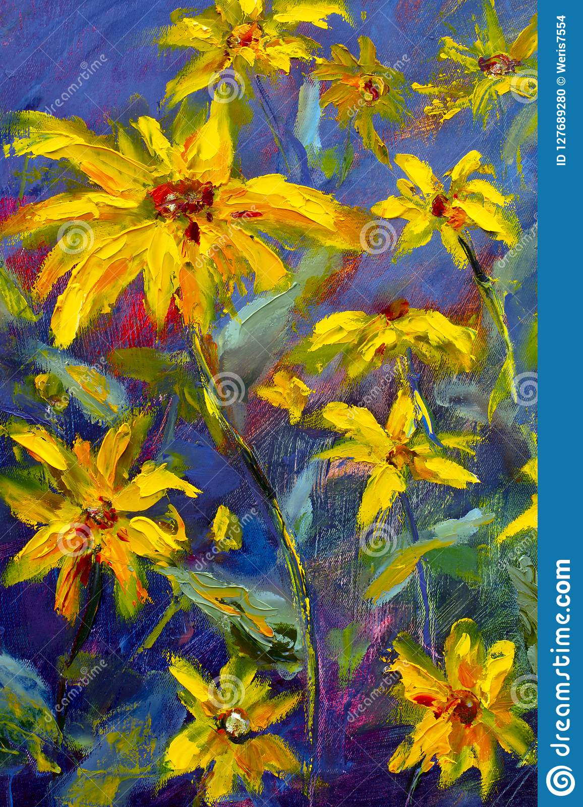 Flowers Painting Yellow Wild Flowers Daisies Orange Sunflowers On A Blue Background Oil Paintings Landscape Impressionism Artwo Stock Illustration Illustration Of Painting Blue 127689280