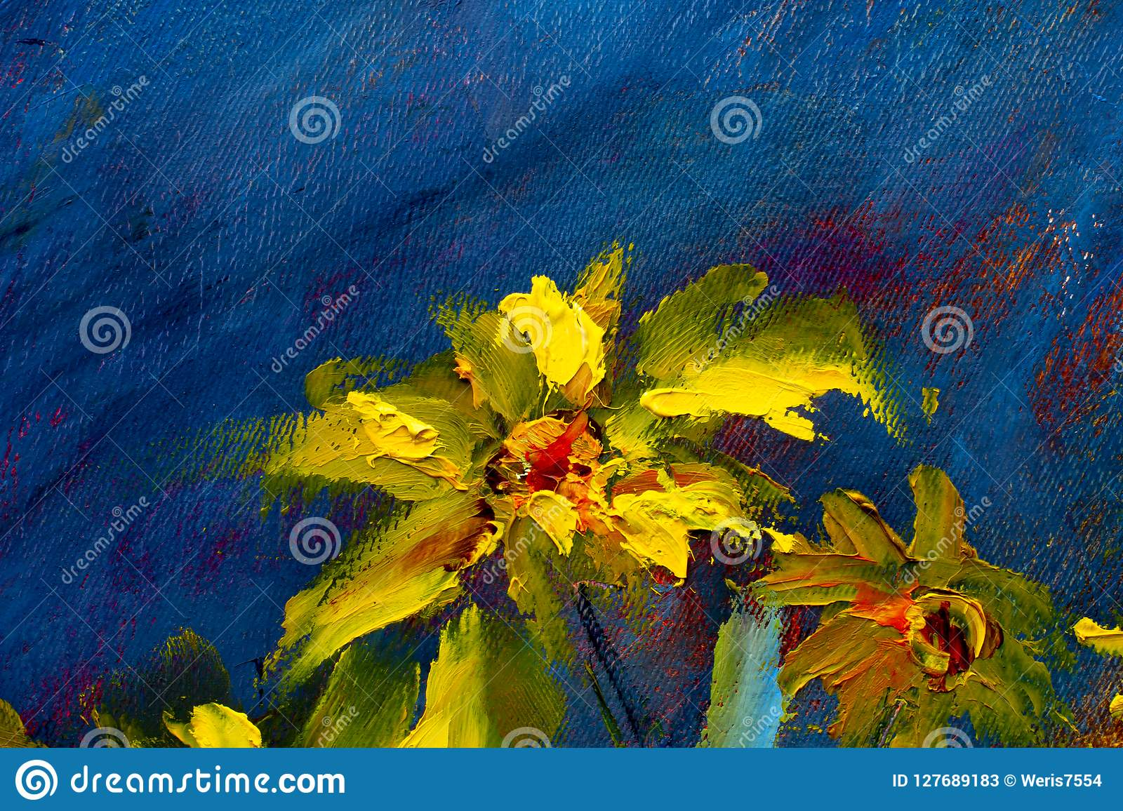 Flowers Painting Yellow Wild Flowers Daisies Orange Sunflowers On A Blue Background Oil Paintings Landscape Impressionism Artwo Stock Image Image Of Impressionism Knife 127689183