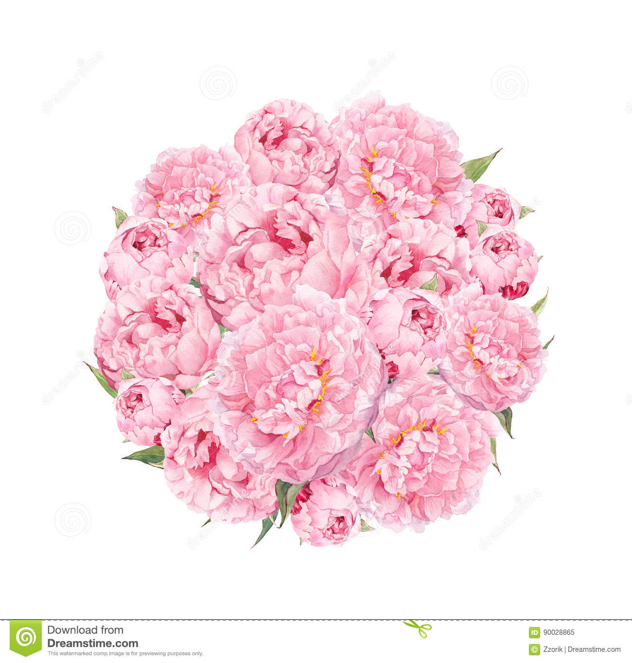 Flowers Pattern With Peonies Round Bouquet Of Pink Flowers Floral
